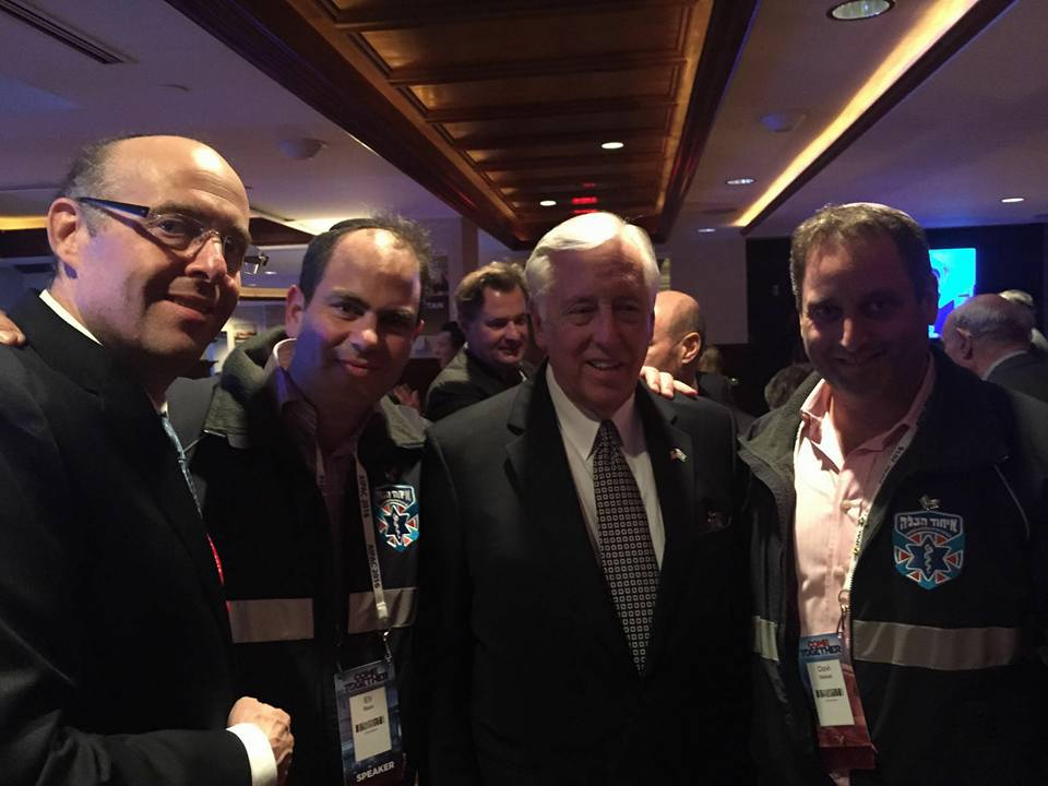 Eli Beer (Second from left) Congressman Steny Hoyer (Center) and United Hatzalah's Dovi Maisel (Right) at AIPAC , 2106