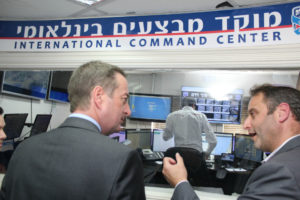The Ambassador tours the command and dispatch center of United Hatzalah)