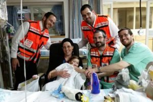 United Hatzalah EMS volunteers help out at Rambam hospital in Haifa as part of the hospital liaison program