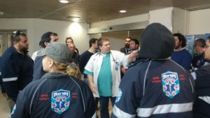 United Hatzalah volunteers get prepped on helping out at Wolfson Hospital in Holon as part of the hospital liaison program.