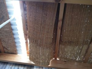 Roof of the Sukkah that saved a toddler's life who fell through it on Tuesday