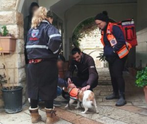 Lucy responded to her first call on Sunday in Jerusalem, at an apartment fire in Gilo
