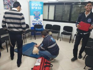EMS veterans help train new recruits in Ashdod.