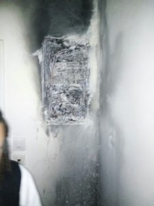 Electrical wiring that caused the building fire in Ashdod