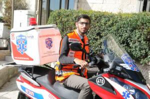 Dvir Adani on his ambucycle