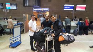 Dvir and Moshe at the airport playing the prank.
