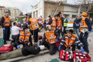 United Hatzalah EMTs during a training exercise in Jerusalem.