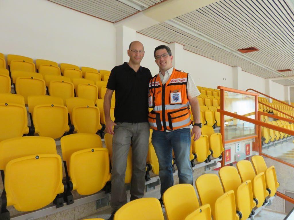 Aviram Zeiler and Aharon Atlas meet again 6 months after Atlas' heart attack at the Hadar Sports Center in Tel Aviv