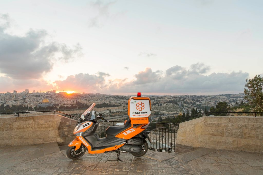 UH Ambucycle overlooking the Old City of Jerusalem