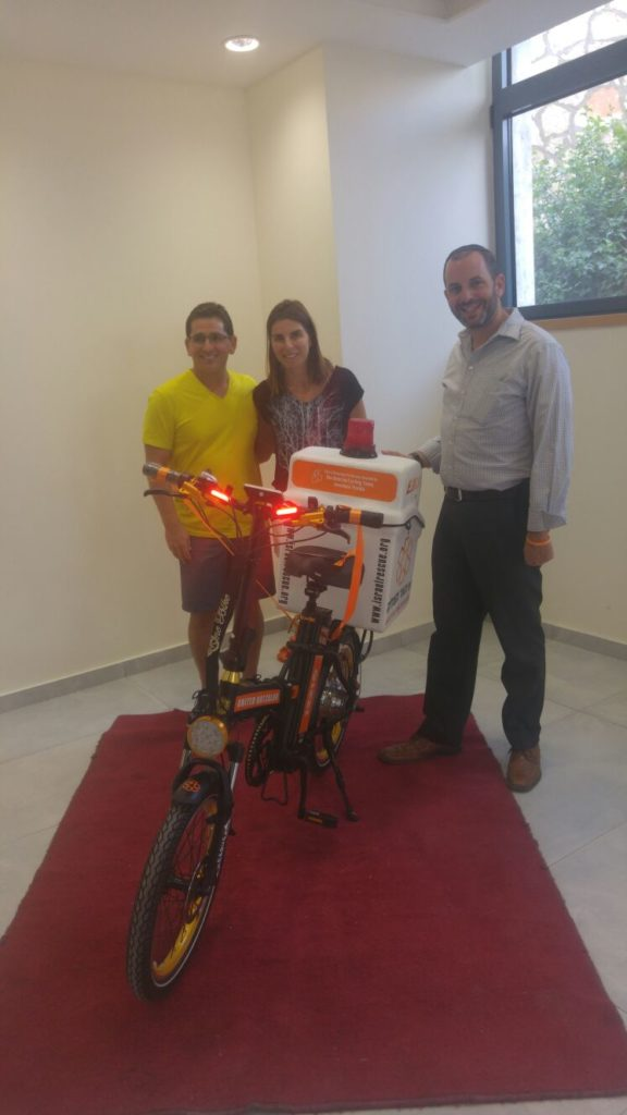 Isaac and Tania at the Beitzim Bicycle Dedication with Shai Jaskoll