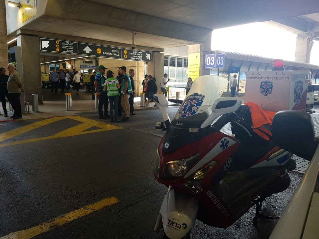 United Hatzalah volunteer's ambucycle parked outside of gate 3 at Ben Gurion airport
