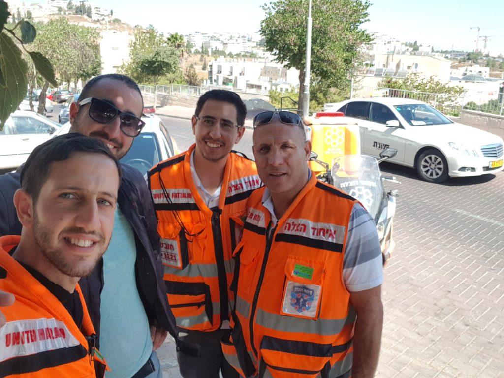 Ariel Ben David (left) with volunteers Gavriel Struck, Itamar Hamo and Ischak Hadad 1