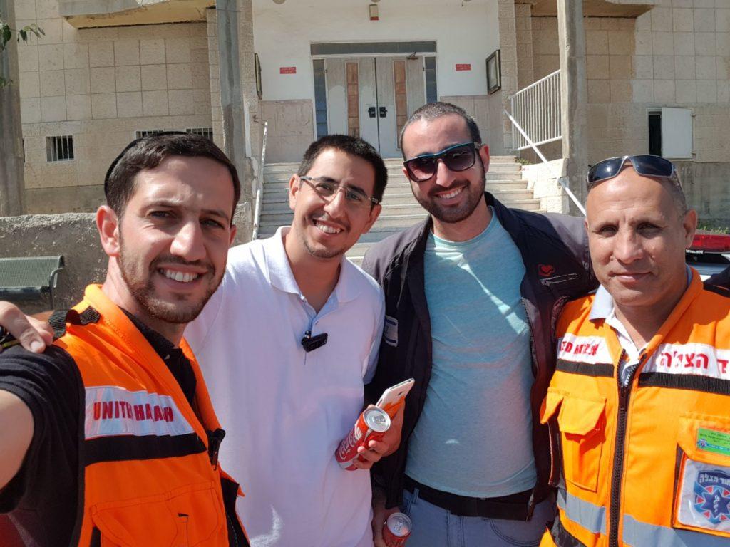 Ariel Ben David (left) with volunteers Itamar Hamo, Gavriel Struck,  and Ischak Hadad