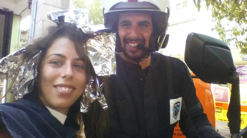 Shiran together with another United Hatzalah first responder following the incident on Tuesday