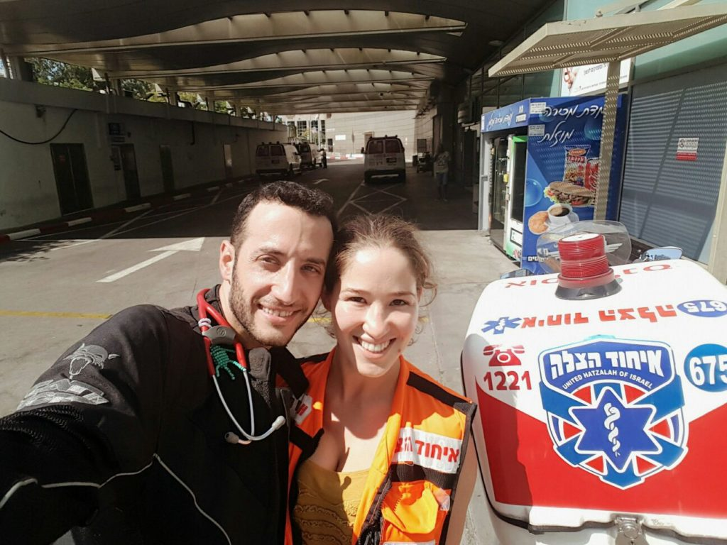 Ashkenazi and Shvimmer pose together after their 3rd call of the day outside of Ichilov hospital in Tel Aviv