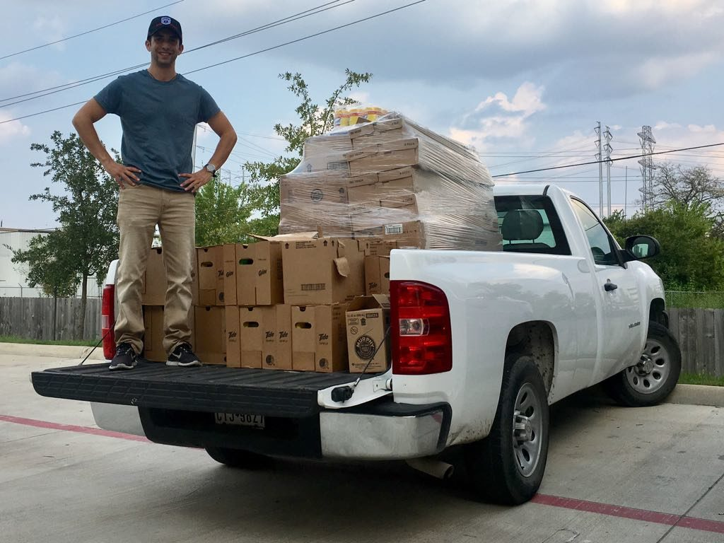 IRC and UH Houston Relief team member Josh Cerf transporting aid to homes that need it in Houston